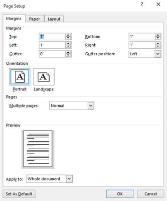 页面设置对话框中的页边距选项卡。